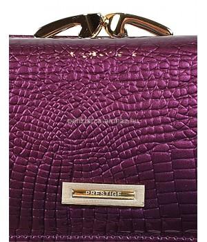 PRESTIGE lila, két oldalas krokkó lakk bőr női pénztárca-keretes 55020
