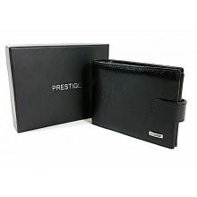 PRESTIGE fekete, kapcsos nagy bőr férfi pénztárca PR37022