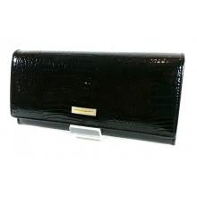 PRESTIGE fekete hosszú, krokkó lakk bőr női pénztárca PRL72015