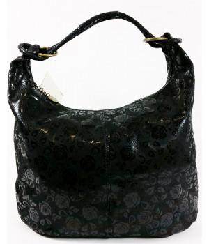 Rózsás mintázatú, fekete bőr divattáska F10244