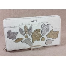 GIUDI fehér, ezüst-arany virágrátétes, fémzippes pénz-és irattárca 7305AECANIN-09