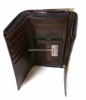 PRESTIGE barna, két oldalas krokkó lakk bőr női pénztárca-keretes 55020