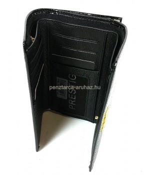 PRESTIGE fekete, két oldalas krokkó lakk bőr női pénztárca-keretes 55020