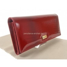 KROKOMANDER piros, krokkó lakk bőr női pénztárca-hosszú SKJ11-016