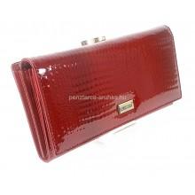 KROKOMANDER piros, hosszú, külső keretes női bőr pénztárca SKJ11-005