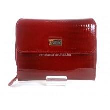 KROKOMANDER piros krokkó lakk, kétoldalas közepes bőr pénztárca SKJ11-014