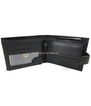 Valentini fekete férfi patentos bőr pénztárca 306-260
