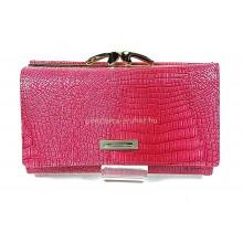PRESTIGE pink, két oldalas krokkó lakk bőr női pénztárca-keretes 55020
