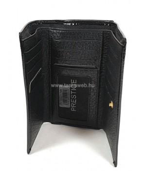 PRESTIGE fekete, két oldalas krokkó lakk bőr női pénztárca-zippes 55020-1