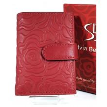 Sylvia Belmonte nyomott, rózsa mintás, piros kártyatartó RO-08