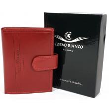Corvo Bianco álló, nyelves, piros bőr kártyatartó CBS808/T