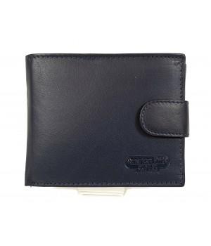 American Pride , sötétkék, patentos nyelves fekete bőr pénztárca 3222