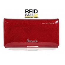 Alessandro Paoli RF védett közepes, fedeles, levélmintás piros pénztárca 51-48