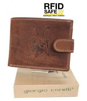Giorgio Carelli németjuhászos, rugalmas nyelves bőr pénztárca RFID 677797-301