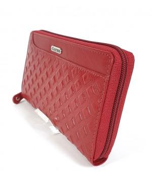 GIULTIERI kocka nyomatos, piros nagy körzippes pénztárca SUN02