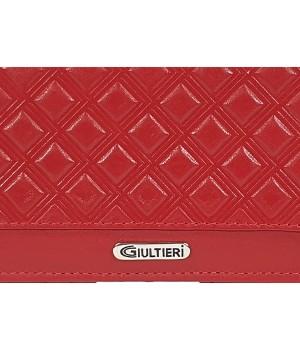 GIULTIERI kocka nyomatos, piros nagy két oldalas pénztárca SUN108