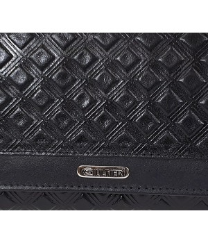 GIULTIERI kocka nyomatos, fekete nagy két oldalas pénztárca SUN108