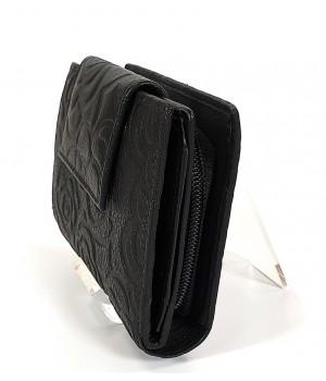 Sylvia Belmonte rózsa mintás, fekete, széles nyelvű női bőr pénztárca RO03