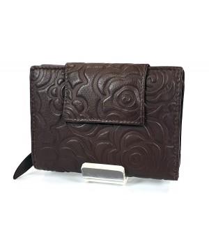 Sylvia Belmonte rózsa mintás, sötétbarna, széles nyelvű női bőr pénztárca RO03