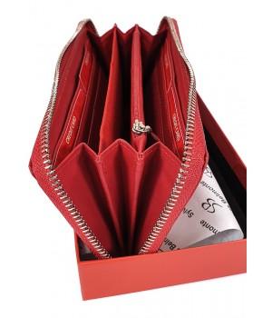 Sylvia Belmonte rózsa mintás, piros nagy körzippes női bőr pénztárca RO01