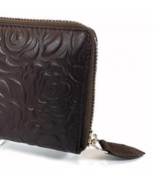 Sylvia Belmonte rózsa mintás, sötétbarna nagy körzippes női bőr pénztárca RO01