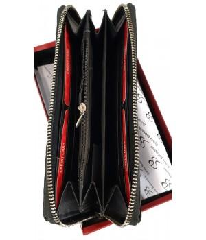 Sylvia Belmonte rózsa mintás, fekete nagy körzippes női bőr pénztárca RO01