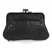 Keretes fekete női erszény, bőr pénztárca 0241