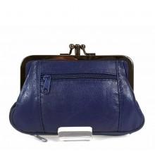 Keretes kék női erszény, bőr pénztárca 0241