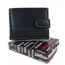 Corvo Bianco kis, patentos nyelves, fekete bőr pénztárca SFC102/T