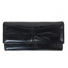 Lakk betétes, masni díszes fekete hosszú női pénztárca GEM-02