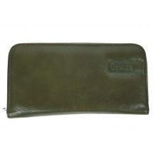 Khakizöld zippes női bőr pénztárca GEM-06