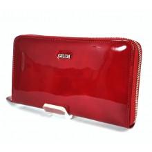GIUDI piros lakk, fém zippes pénz-és irattárca 6802GPGVL-05