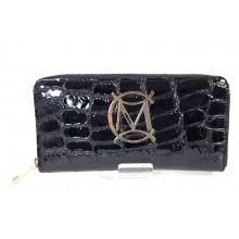 Massimo Contti fekete krokodilmintás lakk bőr-műbőr nagy pénztárca MC-79