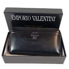 VALENTINI fekete, dupla zippes nagy női bőr pénztárca 363-512