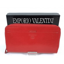 VALENTINI piros, dupla zippes nagy női bőr pénztárca 363-512