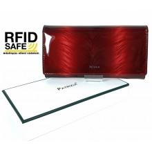 Patrizia RF védett hosszú, toll mintás, brillant piros, belső zippes irattartós pénztárca FF106