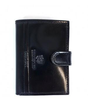 Valentini álló, nyelves, fekete bőr kártyatartó 536-LB01