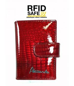 Alessandro Paoli RF védett, piros hüllőmintás lakk bőr patentos kártyatartó 01-81
