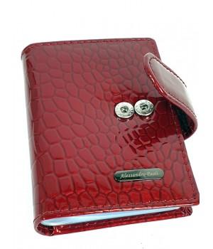 Alessandro Paoli  piros hüllőmintás lakk bőr patentos kártyatartó 33-81