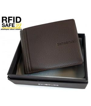 Samsonite DUBLE LTH. kis sötétbarna pénz és irattartó tárca-RFID védett 139987-1320