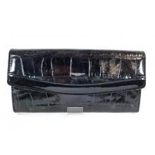 GIUDI fekete  íves fedelű, hüllőmintás-lakk női tárca 7184VAGL-03