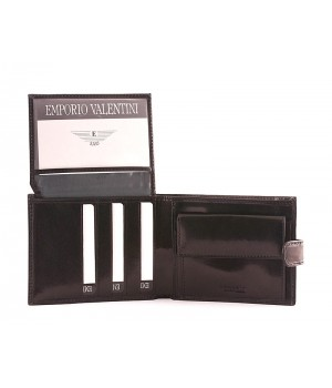 Valentini fekete férfi patentos bőr pénztárca 563298