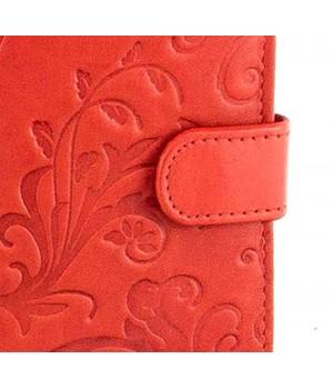 SLM nyomott mintás, piros kártyatartó NY08