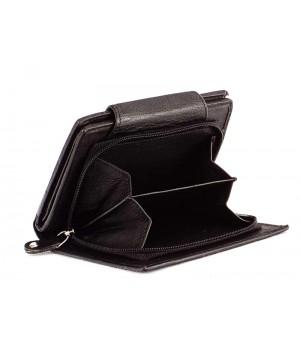 SLM nyomott mintás, fekete, széles nyelvű női bőr pénztárca NY03