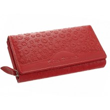 SLM nyomott, apró virágos , piros nagy női bőr pénztárca RM04