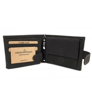 Green Deed fekete, rögzítőláncos, motornyomatos, patentos nyelves pénztárca A1MR1021T