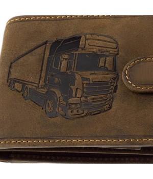 Green Deed kamion nyomatos, RFID védett, nyelves bőr pénztárca KAMR09T