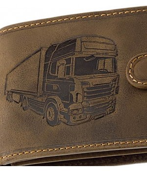 Green Deed kamion nyomatos, RFID védett, nyelves bőr pénztárca KAMR1021T