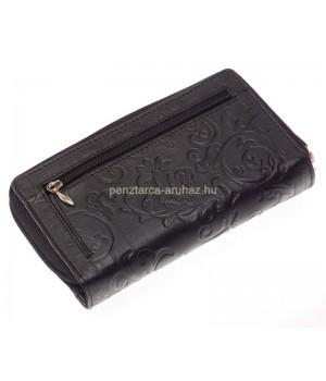 SLM nyomott mintás, fekete, közepes női bőr pénztárca NY14