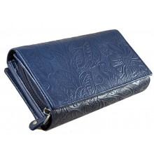Kék, nyomott leveles-virágos mintás, két oldalas női bőr pénztárca 8674-2